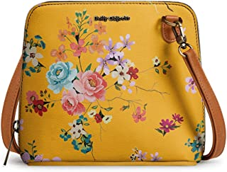 DailyObjects Mustard Floral Trapeze Sling Crossbody Bag for girls and women | Vegan leather, Stylish, Sturdy, Zip closure ...