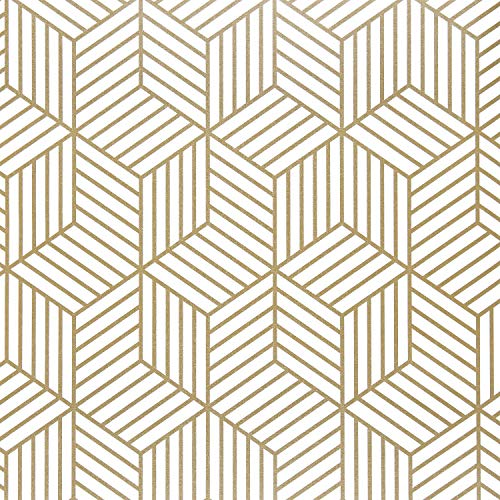 "Wenmer 17.71""x118"" Geometric Hexagon Wallpaper Peel and Stick Wallpaper Removable Self Adhesive Wallpaper Vinyl Film Shelf Paper & Drawer Liner Roll for Home Use"