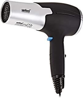 Sanford SF988HD Two Speed and Three Temp Level Hair Dryer, Black and Silver
