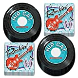 Record Themed Dessert Paper Plates and Rock & Roll Napkins, 50's Party Decorations (Serves 16)