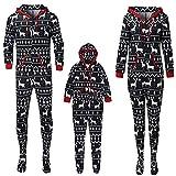 Alueeu Pijamas de Navidad para Hombre Mujer Niños Bebé a Juego la Familia Camisetas Reno a Cuadros Pijamas Manga Largo+ Pantalones Elásticas 2 Piezas Trajes de Dormir Casual Homewear