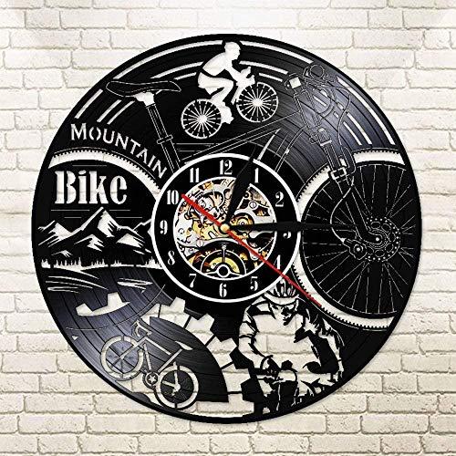 Wwbqcl Decoración de Bicicleta de montaña Luces LED 3D Disco de Vinilo para Reloj de Pared de Disco de Bicicleta de Aventura