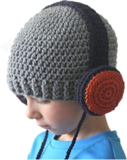 Fheaven Baby Wool Knitted Hats Baby Girls Hooded Caps for 2-7years (Gray)