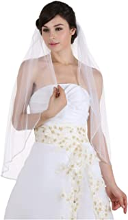 "1T 1 Tier Crystals Pearls Beaded Wedding Veil Fingertip Length 36"""