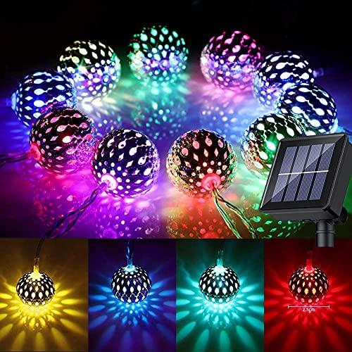 Guirnaldas Luces Exterior Solar, 7M 50 LED, IP65 Luces Jardin Marroquíes a...