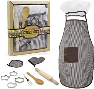 Kids Apron Set for Boys-Complete Children's Chef Set Baking Set with Chef's Apron, Cooking Mitt & Utensils - Recommended f...