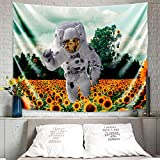 MENTAIQI Vibrant Trippy Sunflower Spaceman Tapestry, Psychedelic Hippie Astronaut Roam at The Sunflower Field Art Wall Hanging Decorations for Room Dorm