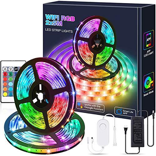 DOOK 10M Luces de Tiras LED WiFi, Tira de Luz Se Puede Usar con Alexa, Google Home, App, Ajuste de Control de Voz, Adecuada para Dormitorio, Salón,Fiesta, Navidad, Decoración de Halloween