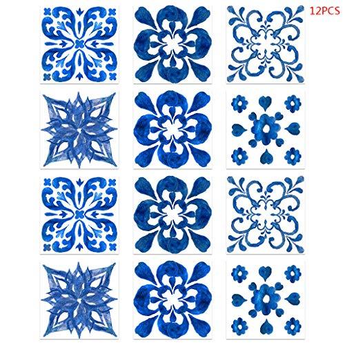 ruiruiNIE 12 Piezas de Porcelana Azul y Blanca autoadhesiva PVC baldosa cerámica Pegatina Impermeable
