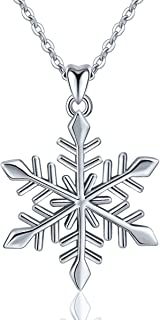 Sterling Silver Snowflake Pendant Necklace Elegant Snow Gift for Women, 18