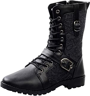Men's Retro Mid-calf Boots, Males Solid Lace up Pointed Toe Side Zipper Cotton Boots Non-slip