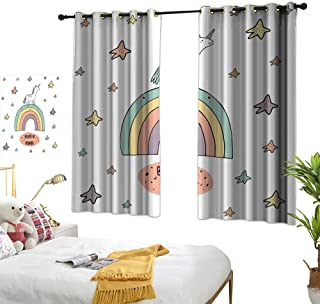 """RuppertTextile Unicorn Customized Curtains Hand Drawn Rainbow with Doodle Stars and Believe in Wonder Quote Positive Vibes 55"""" Wx63 L, Suitable for Bedroom Living Room Study, etc."""
