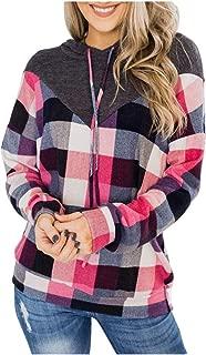 OULSEN Autumn Winter Women Fashion Hoodies Splice Plaid Pullover Blouse Loose Casual Hooded Sweatshirts Top