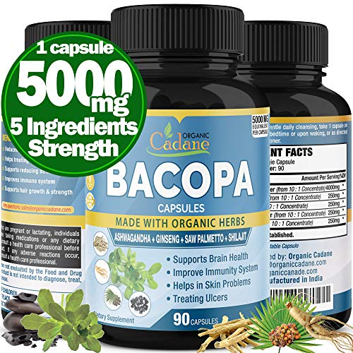 Bacopa Monnieri Extract Capsules 5000mg & Ashwgandha, Ginseng, Saw Palmetto, Shilajit Support Brain Function, Promotes Mental Clarity Supplement Anxiety and Stress Relief Memory Focus, 3 Months Supply