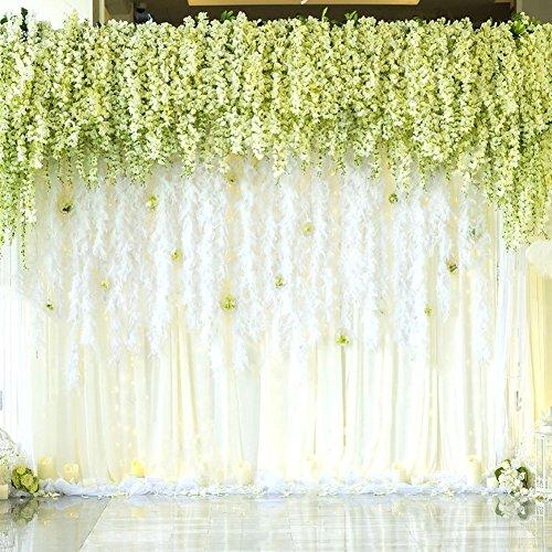 Pianta artificiale di glicine rampicante con fiori in seta, ideale come decorazione per matrimoni, casa e feste in giardino, 12 pezzi per confezione, da 110 cm/pezzo A-white