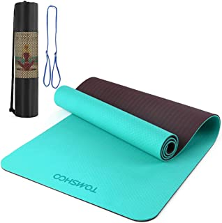 8mm Yoga Mat, Non-Slip Texture Pro Yoga Mat Eco Friendly Exercise Mat Pad with Carrying Strap and Mesh Bag for Home Gym Fitness Workout Pilates