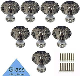 Crystal Knob, Etubby 8Pcs 30mm Diamond Shaped Luxury Crystal Knobs Glass Knobs with Screws for Drawer Door, Wardrobe Door, Cupboard Door, Kitchen, Etc - Gray