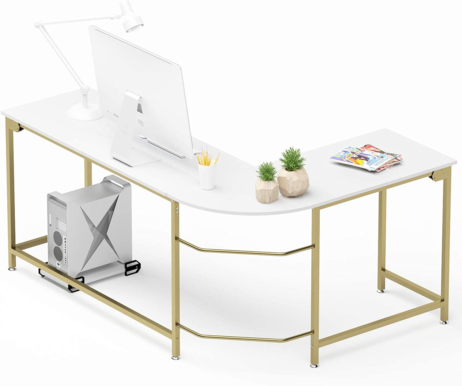 Hago Modern L-Shaped Desk Corner Computer Desk Home Office Study Workstation Wood & Steel PC Laptop Gaming Table(Small, White)