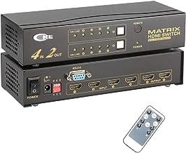 CKL HDMI Matrix Switch Splitter Selector Box 4 Port in 2 Out Arbitrarily 1080P 3D + IR Remote RS232 Control for Computer Server HDTV Xbox Desktop Metal (CKL-4H2)