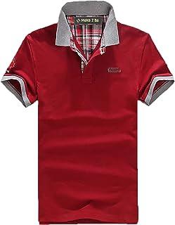 [Make 2 Be] ポロシャツ メンズ カジュアル 半袖 襟元 チェック柄 バイカラー チームカラー 卓球 スポーツ ゴルフウェア ゴルフ ワンポイントロゴ 夏 クールビズ 通気性 速乾 MF19
