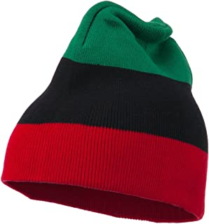 JFH GROUP Pan African Colors Unisex Striped Beanie Skull Cap (Green Black Red)