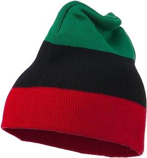 JFH GROUP Pan African Colors Unisex Warm Stripe Knit Beanie Skull Cap (Green Black Red 0016GBR)