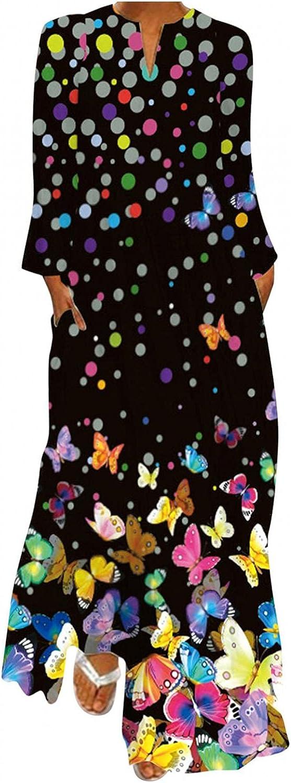 Aunimeifly Women Plus Size Floral V-Neck Cami Dress Loose Long Maxi Dress Oversized Bohemian Caftan Beach Dress with Pockets