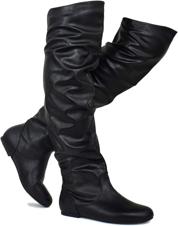 Premier Standard - Kvinnors Slouchy Over Knee höga höga höga stövlar - Comfortable Low Heel gående stövlar  Vi levererar det bästa