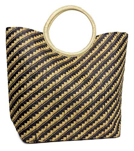 Funky Junque Strandtasche für Damen, Segeltuch, Schultertasche, runder Griff, Reise-börse, (Zweifarbiges Gewebe – Schwarz/Toast), Einheitsgröße