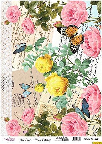 Papel de Arroz Decoupage Cadence Cartas con Flores y Mariposas 30x41cm
