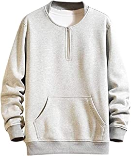 Rikay Men's Plain Pullover Sweatshirt Stand Neck Jumpers Tops Casual Hoody with Pocket Plus Size 10-16 UK Gift for Men