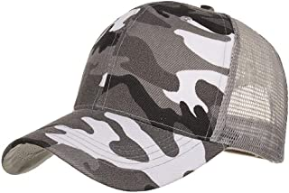 Vadeytfl Camo Hat Unisex Mesh Baseball Cap Summer Adjustable Tactical Cap (56-60Cm) (Color : Gray)