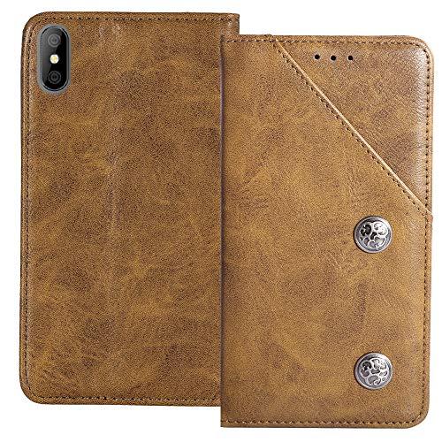 YLYT Flip Braun Schutz Hülle Hülle Für Alcatel OneTouch Pop 4 (6) 7070X Etui Leder Tasche Handyhülle Hochwertiges Stoßfeste Kartenfach Cover