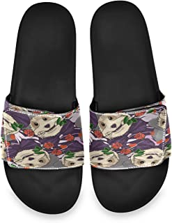 Sweet Terrier Dog in Hat Purple Bow and Rose On His Mouth Men's Summer Sandals Slide House Adjustable Slippers Beach Boys