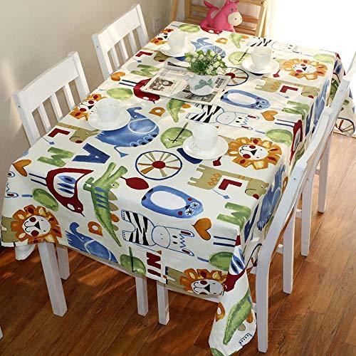 Haoxp Eenvoudige stijl, veelzijdig voor binnen en buiten stofdichte tafelkleden, Cartoon katoen tuintafel doek koffietafel afdekking handdoek cafe ronde tafelkleed - dier, 90 * 150cm