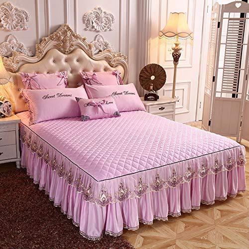 3PCS Bettrock Tagesdecke Rüschen Bett Rock Bett Volant Bettüberwurf Mit Rüschen Faltenresistent Und Ausbleichen Beständig,Color4-200x220cm(79x87inch)