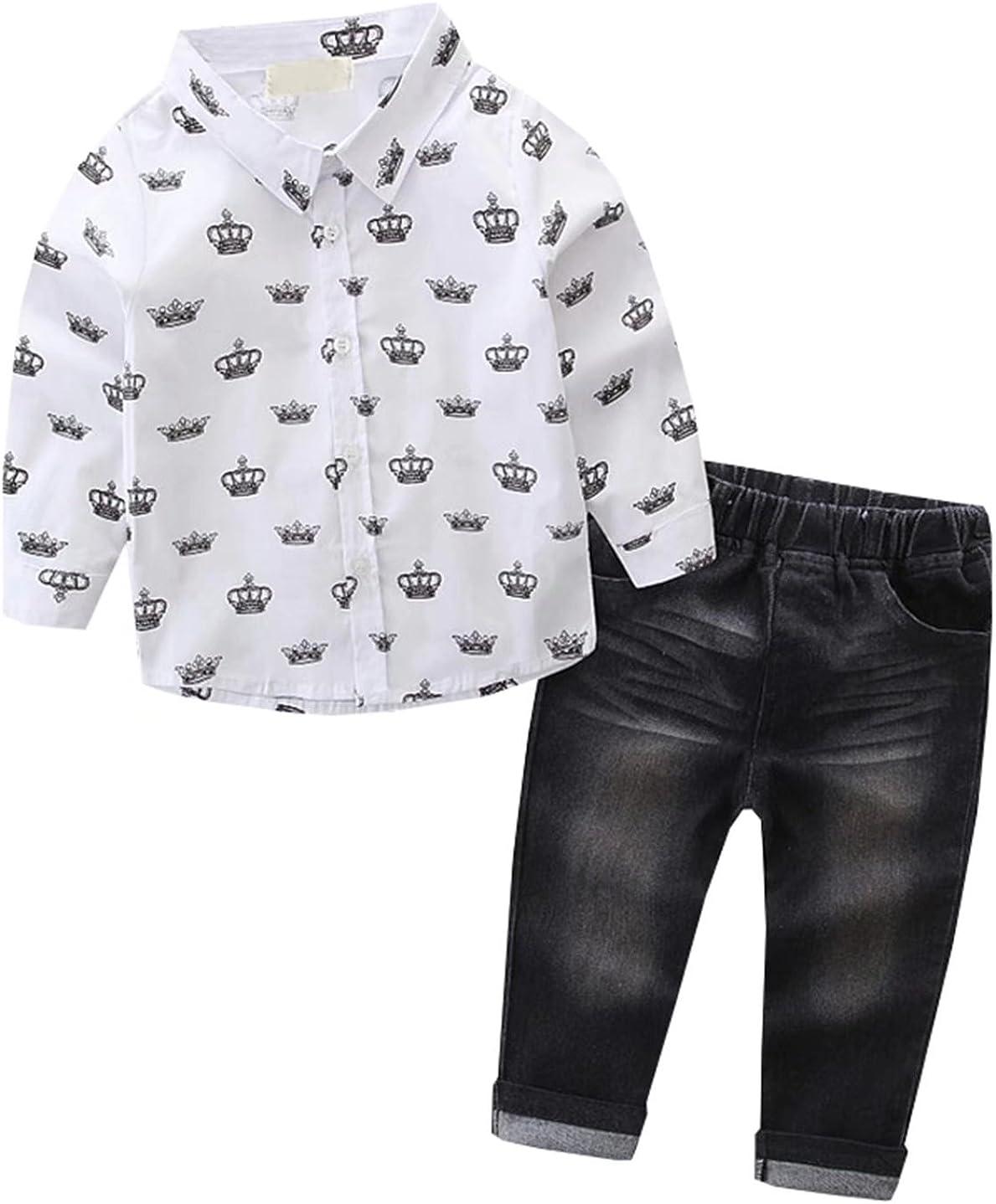Ameyda Boys Long Sleeves Tops Crown T-Shirt + Jeans 2 Piece Set
