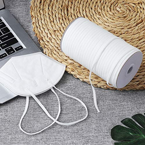 160 Yard inch Wide Elastic Cord Band Knitted High Sewing Elastic String Rope for Crafts DIY Masks Ear Band Earloop Sewing (160 Yards Length 5mm Width White)