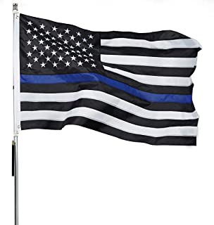 ROTERDON Thin Blue Line Flags - 3x5 ft Police Law Enforcement Oxford Embroidered Stars America Outdoors Flags