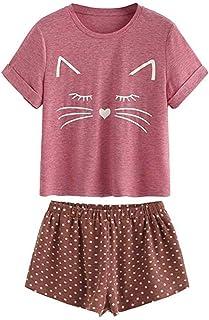iBOXO Fashion Girls Sleepwear Casual Cat Shorts Short Sleeve and Shorts  T-Shirt Nightwear Set 2b3d1f251