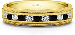 TwoBirch Sterling Silver Men's Wedding Ring Featuring Millgrain Design With Black And White Cubic Zirconia(0.27Ct.)