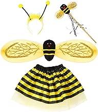 YO-HAPPY Baby Fairy Costume Set Ladybird Bee Cosplay Dress Glitter Wing Rayas con Capas Tutu Falda Vestido de Fiesta de cumpleaños