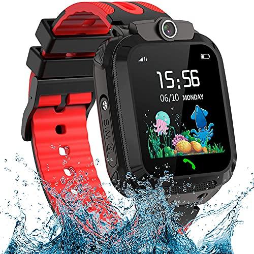 Reloj inteligente para niños, resistente al agua, LBS para niños, pantalla táctil, reloj inteligente para niños, reloj para niños de 3 a 12 años (rojo)