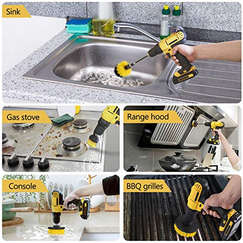 Drill Brush Attachment Set - Power Scrub   ber Brush Cleaning Kit - All Purpose Drill Brush with Extend Attachment for Bathroom Surfaces, Grout, Floor, Tub, Shower, Tile, Corners, Kitchen and Car