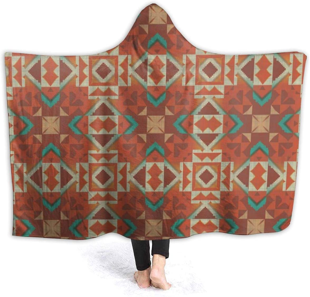 Hooded Flannel Max 61% OFF Blanket ! Super beauty product restock quality top! Tribal Mosaic Ethnic Cozy Native American