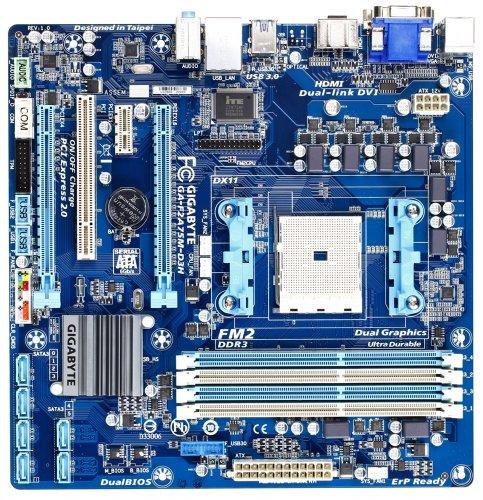 GigaByte GA-F2A75M-D3H Rev 1.0 Mainboard Sockel FM2 (Micro-ATX, AMD A75, 4X DDR3 Speicher, USB 3.0)