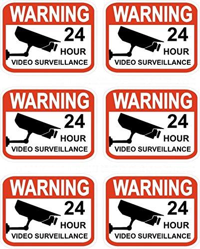 "GrandSiri Video Surveillance Security Decals 2.3"" x 3"" Stickers Signs Warning 6pcs CCTV"