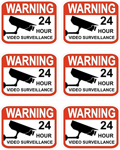 "GrandSiri Video Surveillance Security Decals 2.3"" x 3"" Stickers Signs Warning 6pcs CCTV"