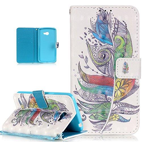 Custodia LG K5,Custodia Case Cover per LG K5,LG K5 Custodia Cover [PU Leather] [Shock-Absorption] Protettiva Portafoglio Case e Porta carte di credito Custodia Cover per LG K5,Piume colorate tribale