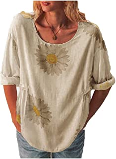 HEFASDM Womens Linen Spring/Fall Casual Print Mid-Long Style Blouse Tees Top